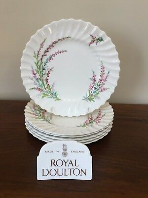 "Royal Doulton BELL HEATHER SCALLOPED 9 ¼"" Luncheon Plate~ Set of 6 (Lot A)"