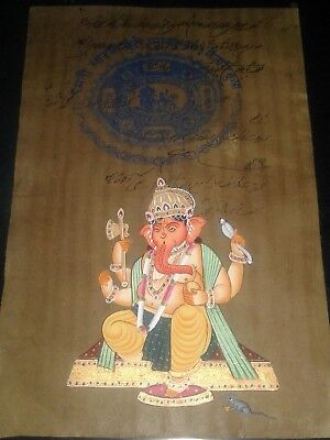 India Old Look Beautiful Fine Handmade Ganesha Painting On Vintage Stamp Paper.