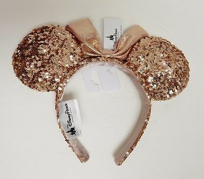 Disney World Rose Gold Mickey Minnie Mouse Ears Headband New with Tags