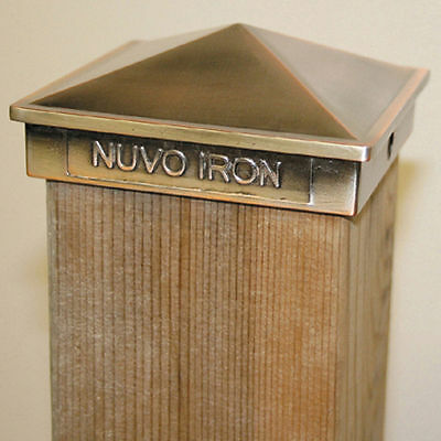 """Nuvo Iron PCP02CP CASE OF 24 4""""x4"""" PYRAMID POST CAP COPPER PLATED for 3.5"""" posts"""