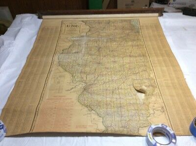 Antique Pull Down Map Of ILLINOIS c. 1920s NEEDS REPAIR 01231A