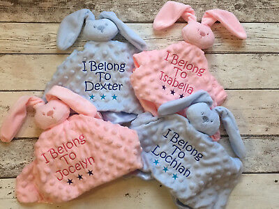 Personalised Luxury Baby Comforter Blanket Bunny Rabbit Boy Girl Gift Newborn