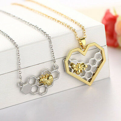 Fashion Honeycomb Bee Animal Pendant Necklace Jewelry Women Prom Gift Flowery