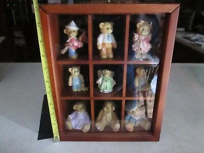 Lot Of 9 Cherished Teddies In Wall Hanging Cabinet