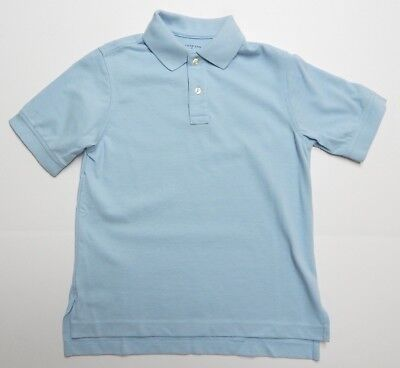 Lands' End Kids Size S 7-8 Chambray Blue Short Sleeve Perf Mesh Polo
