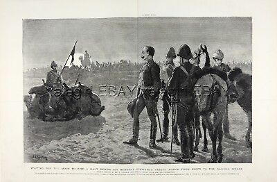 Sudan Camel Cavalry Waiting for Nightfall, Huge Double-Folio 1880s Antique Print