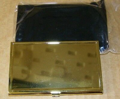 TZ Case Business card Holder All metal Pocket size Gold Engravable NEW