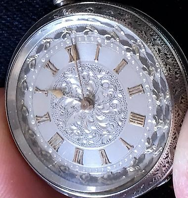 Antique Sterling Silver 935 Grade Swiss 19Th Century Small Pocket Watch