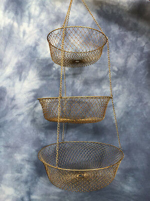 Vintage Extra Large Metal Chain Mesh Wire Three Tier Hanging Baskets