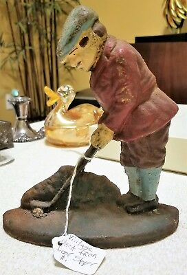 Antique Vintage Cast Iron Golfer Door Stopper Heavy Hand Painted Detail