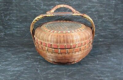 "Antique Chinese Wicker Reed Handle Sewing Basket, 12"" Dia. x 6"" Not Incl. Handle"