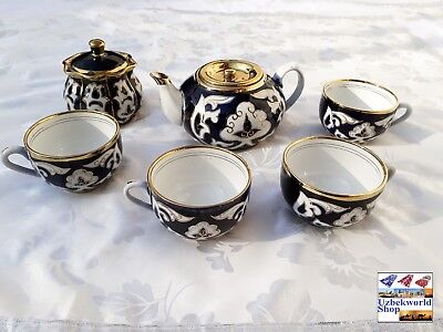 Vintage uzbek traditional handmade handrawn glazed ceramic pottery set