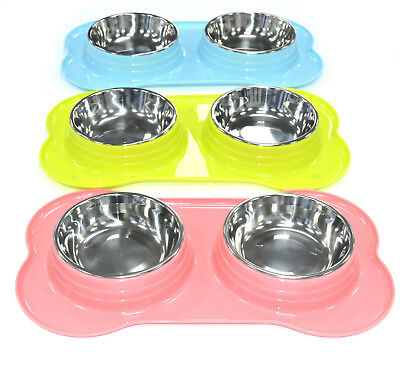 Pet Feeder 4 In 1 Stainless Steel Bowl With Double Plastic Feeder For Any Pets