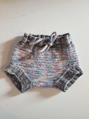 woolly nappy cover grey hand knitted soaker 17 in rise 21 hips washable reusable
