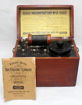 Antique c.1899 Voltamp Battery No. 2 Medical Quackery Machine w/ Original Book