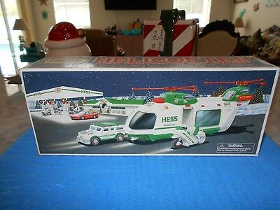 2001 HESS Helicopter With Motorcycle And Cruiser MINT/BOX/Insert, New