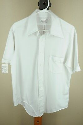 Vintage Richman Brothers Men's White Polyester Cotton 70's Shirt L Large