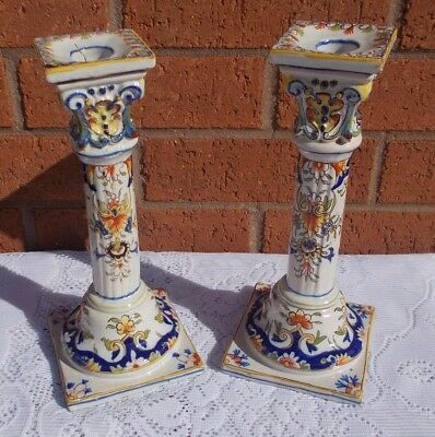 Pair Antique French Faience Majolica Rococo Style Candlesticks 19th Century