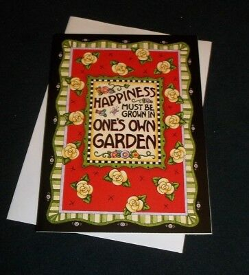 """Mary Engelbreit blank note card w/envelope """"Happiness must be grown..."""""""