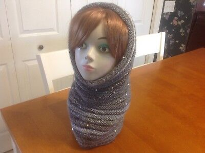OOAK Hand Knit Cowl And Hood Shades Of Gray With Sequins