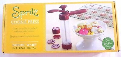 Nordic Ware Spritz Cookie Press with 12 Disc Shapes New Easy Push Design