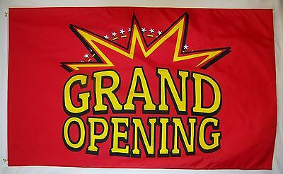 Grand Opening With Star Burst Flag 3' X 5' Deluxe Indoor Outdoor Business Banner