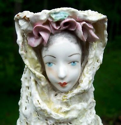 """Vintage CORDEY """"Lady in Lace"""" Porcelain Figurine Bust Statue #5027 BEAUTY!"""