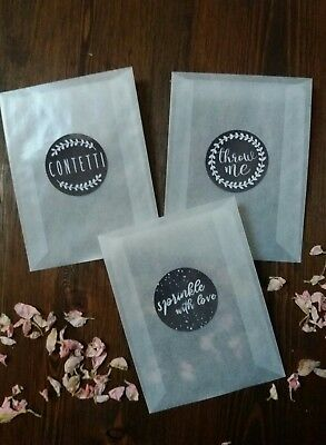 Wedding Confetti Glassine Bags & stickers, Confetti throwing bag calkboard black