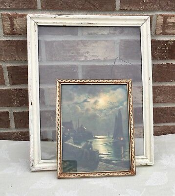 Pair Vintage Art Deco White Distressed Carved Wood 1930s Picture Artwork Frames