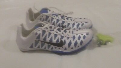 New  120 Nike Zoom Maxcat 4 Mens Track   Field Spikes Sprint Shoes - White  Blue acf9ed0a0