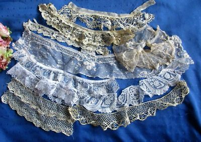 ANTIQUE LOT OF HAND MADE LACE~HONITON~BEDFORDSHIRE~BRUSSELS~DUCHESSE etc.~12 pcs