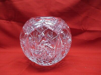 """Vintage Cut Czech Glass Lead Crystal Bowl or Vase Round 6.5"""""""