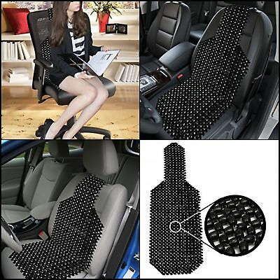 Black Wood Beaded Seat Cushion Zone Tech Premium Quality Car Massaging Double Strung