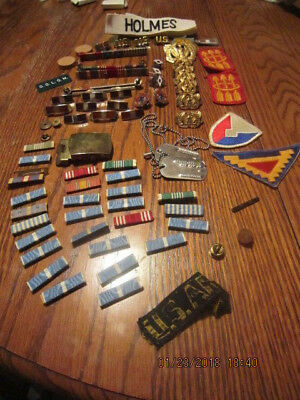 Vtg Lot Of Military Army Awards Bars Brass Stars Dog Tags Holmes Patches