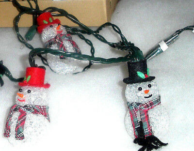 Avon Chilly Sam And Samantha Snowman 10 Light String All Working Model 209425