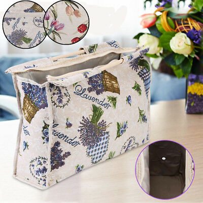 Foldable Wood Handle Woven Fabric Tote Bag Knitting Needle Sewing Tool Organizer