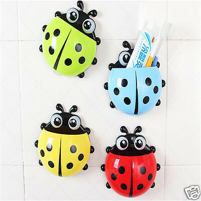 Cute Ladybug Toothbrush Holder Strong Sucker Wall Mount Toothbrush Storge Rack