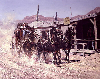 Home Decor Art Quality Canvas Print, Oil Painting Western, Stagecoach16x20