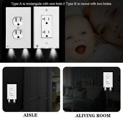 Pro Duplex Night Angel Light Sensor LED Plug Cover Wall Outlet Coverplate Lot US