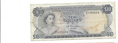 Bahamas no date Law 1974  10 Dollars Pick 38a  affordable F-VF