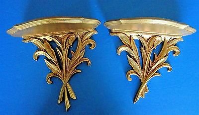 Vintage Large Hollywood Regency Gold Syroco Wall Shelf Sconce Pair RARE
