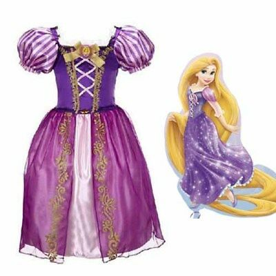 Bambine Vestito da principessa Fancy Dress Tangled Rapunzel ragazza 3-9 anni