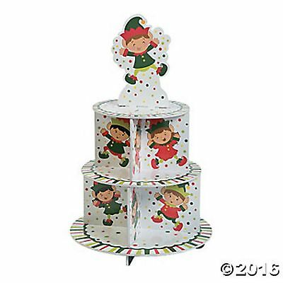 ELF ELVES CHRISTMAS CUPCAKE STAND DISPLAY HOLDER CENTERPIECE Santas Helpers