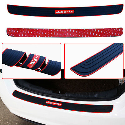 Universal Black Car Rear Guard Bumper Scratch Protector Cover w/ Red Sport logo