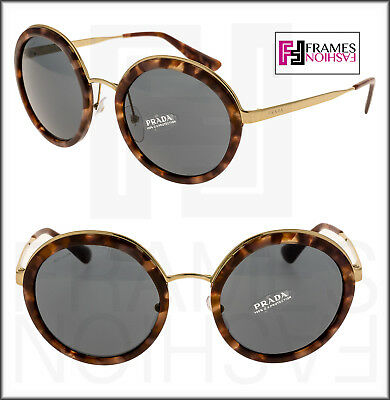 052a1fcdc658 PRADA CINEMA Round EVOLUTION Sunglasses 50T Pink Havana Gold PR50TS Women  Metal
