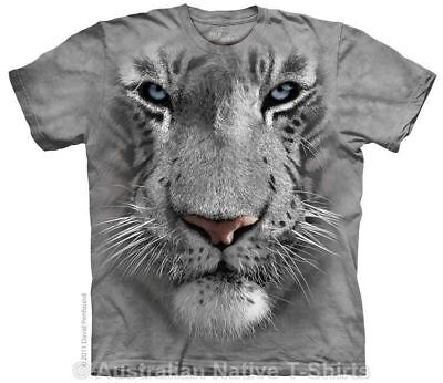New White Tiger Face T-Shirt in Adult Sizes - Mountain Tie Dye Animal TShirts