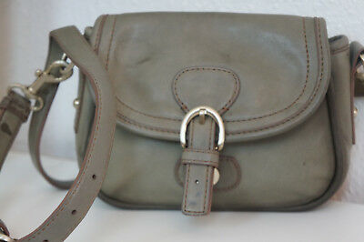 ✿ Talbots ✿ Vintage Designer Leder Flap Bag Tasche Cross Body Khaki Blogger ✿