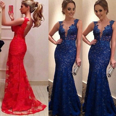 Women's Lace Backless Long Formal Wedding Evening Party Prom Bridesmaid Dress