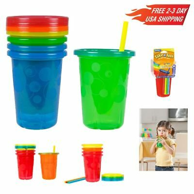 Straw Cup Spill Proof Take and Toss 10 oz 4 Pack Durable for repeatable Use New