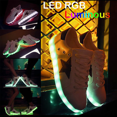 Unisex RGB LED Light Lace Up Luminous DJ Step Street Dance Casual Sneaker Shoes
